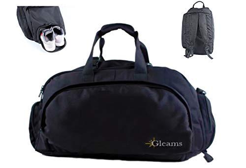 Gleams sporttas of rugzak, zwart, voor fitnessstudio en reizen, waterdicht, met schoenenvak voor dames en heren