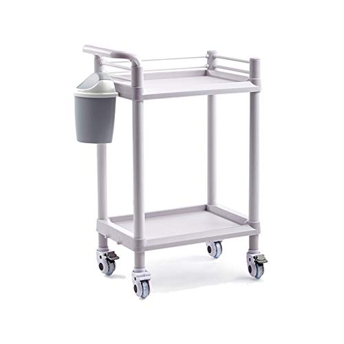 WANGF Carro de Salón de Belleza ABS Carro Médico de Gran Capacidad con Cajón/Bote de Basura/Freno Silencioso Estante de Instrumentos de Rueda Carro de Laboratorio de 2/3 Capas