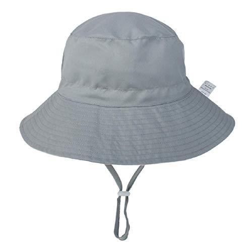 Hawiton Baby Sonnenhut UV Schutz Kleinkind Fisherhut Sommermütze mit Kinnriemen Baumwolle Nackenschutz Hut (Grau, S)