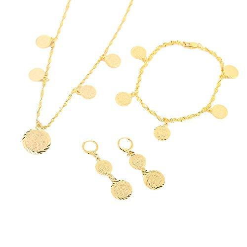 Pulsera de monedas de moda, collar, pendientes, Alemania, España, Francia, moneda, signo de dinero, mujeres, conjuntos de joyas de color dorado de 24 K