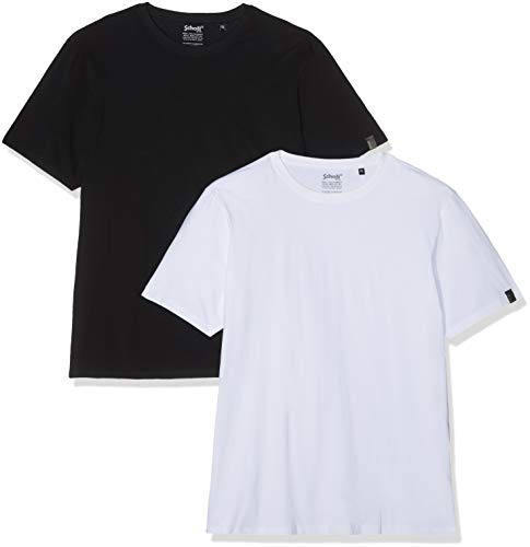 Schott NYC - TS01MC - T-shirt - Lot de 2 - Homme - Multicolore (White/Black White/Black) - Taille: XXL
