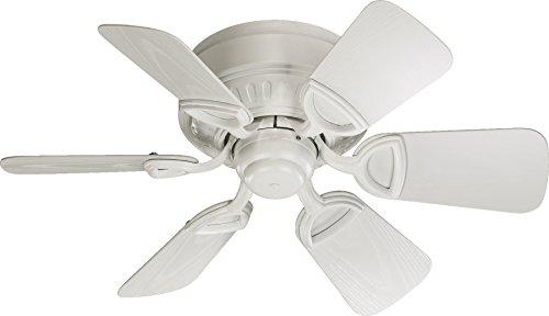 Quorum International 151306-8 Medallion 6-Blade Flush Mount Patio Ceiling Fan with Studio White ABS Blades, 30-Inch, Studio White Finish
