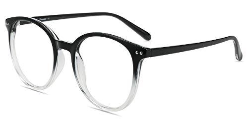 Firmoo Blaulichtfilter Brille ohne Sehstärke Damen, Herren Anti Blaulicht Computerbrille gegen kopfschmerzen Entspiegelt, Panto UV Blaulicht Schutzbrille für Bildschirme Schwarz-Transparent