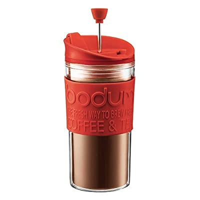 BODUM Travel French Press Coffee Maker Set with Extra Lid, Vacuum, 0.35 L/12 oz, Red