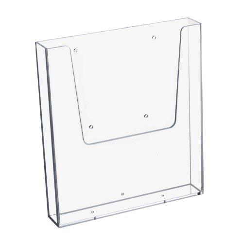 Supporto porta-brochure da parete, per documenti di formato DIN A4 verticale, trasparente