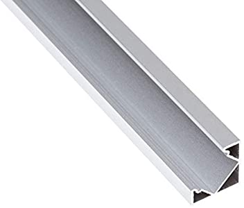 JANDEI - 4 * 1 Metro Perfil Aluminio Tira Led Esquina Con Tapa Traslúcida 19,3x19,3mm