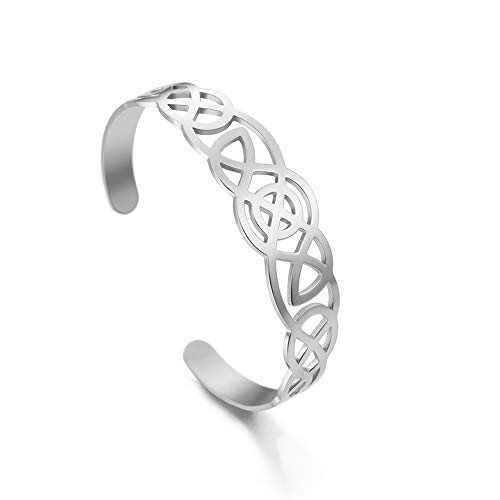LIKGREAT Hollow Celtic Knot Stainless Steel Bracelets Viking Irish Cuff Bangle for Women Men (Silver Tone)