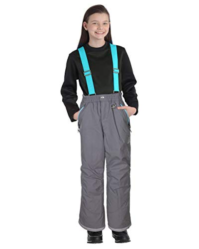 Gerry Girls' Performance Snow Pants with Removable Suspenders Ski Pants Carbon M (10/12)