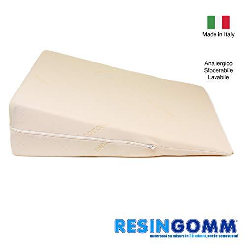 Cuscino antireflusso per Adulti. Specifico reflusso gastrico esofageo Sfoderabile e Lavabile, Alta qualità Resingomm 100% Made in Italy, Senza intermediari .Completamente Anallergico.