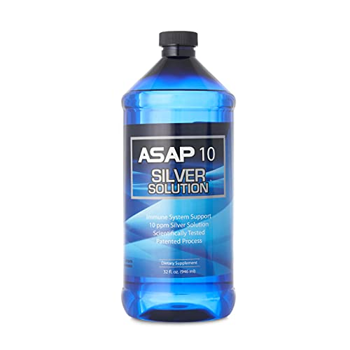 American Biotech Labs - ASAP 10 Silver Solution - Immune System Support, 10 ppm Silver Solution Dietary Supplement - 32 fl. oz.