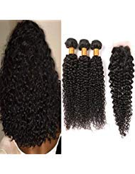 Kinkys Curly Brazilian Virgin Hair with Closure Free Part 3 Bundles Cheap Human Hair Weave With Closure Natural Brown Color Weft 18 20 22 + 16 Inch