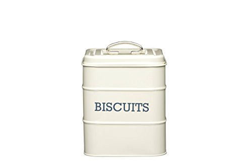 KitchenCraft Living Nostalgie Luftdichte Metall-Keksdose, Keksdose, Keksbox/Aufbewahrungsbehälter, 14,5 x 19 cm – Antique Cream
