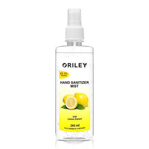 ORILEY Instant Hand Sanitizer Mist with Lemon Extract 83.3% Ethyl Alcohol Spray-based Liquid Rinse-free Germ Protection Palm Handrub (260ml)
