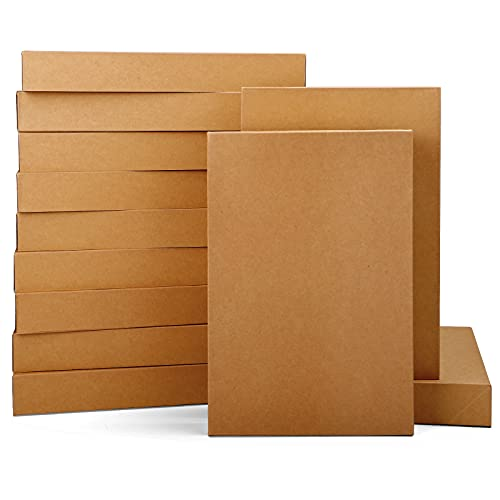 Moretoes 12pcs Shirt Gift Boxes, Brown Boxes with Lids for Presents, Clothes, Sweater, Robe 14x9.5x2 Wrapping Boxes for Christmas, Birthday, Father's Day, Holidays