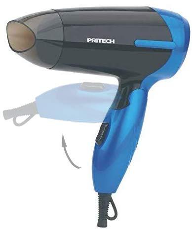 Pritech Secador de pelo de viaje plegable TC-2260 función Ionic, boquilla concentradora de aire, 2 velocidades, perfecto para viaje y para llevarlo a fuera. Secador pequeño 1000W (Azul)