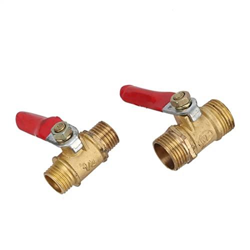 NNMB Duradera Válvula de Bola de latón 1/4'3/8' Macho a Hombre Bsp Hilo con la Palanca roja del Conector del Conector del Conector del sujeción del sujeción del Adaptador de Acoplamiento Fá