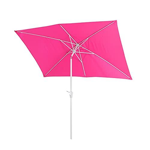 Mendler Sonnenschirm N23, Gartenschirm, 2x3m rechteckig neigbar, Polyester/Alu 4,5kg - pink