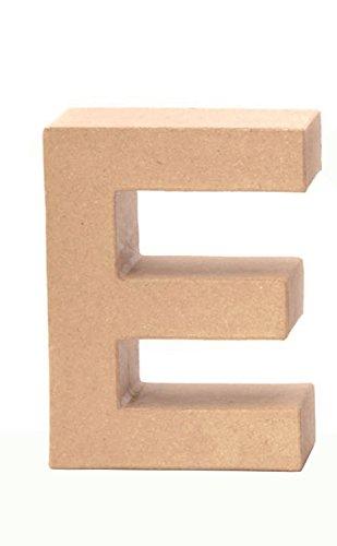 Glorex 6 2029 105 - Papp - Buchstabe E, Buchstabe aus brauner Pappe, ca. 17,5 X 5,5 cm groß, zum bemalen und bekleben, für Serviettentechnik und Décopatch, ideal als Dekoration