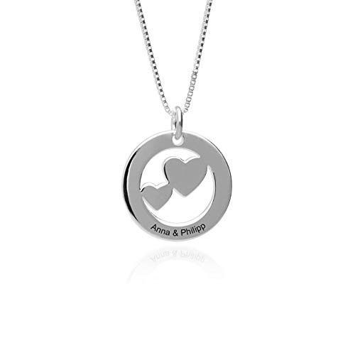 Damen Halskette 925 Silber Kette mit Herz Anhänger und personalisierte Gravur Lieblingsstück für den Lieblingsmensch, ideales Geschenk für die Frau oder Freundin