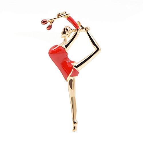 HUNANANA Verfügbar Emaille Gymnastic Girl Broschen Für Frauen Mode Nette Dame Schmuck Sommer Stil Zubehör Geschenk
