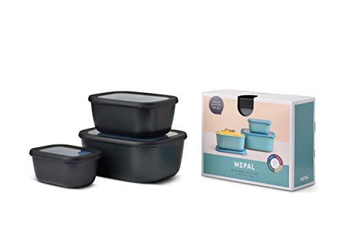 Mepal Multischüssel-Set Cirqula rechteckig 3-teilig (750+1500+3000 ml) Nordic Black – Schüsselset – Frischhaltedosen – Vorratsdosen – stapelbar – spülmaschinenfest, Polypropyleen, Hoch