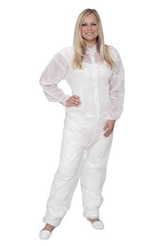 10 x Einweg Overall Premium Weiß Gr. XL | Overall mit Kragen | Maleroverall Schutzanzug für leichte Malerarbeiten, Lackierarbeiten, Reinigungsarbeiten | Maleranzug Schutzkleidung Einweganzug