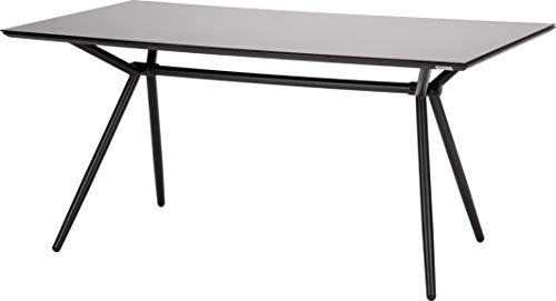 Acamp Gartentisch Alpha | Esstisch Glastisch Terassentisch | Anthrazit Cemento Taupe | 160x80x75 cm | Aluminium-Gestell pulverbeschichtet | Tischplatte aus Sicherheitsglas Cemento Taupe 3D-Optik