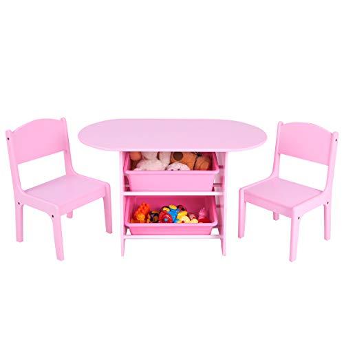 COSTWAY Juego de Mesa y 2 Sillas para Niña Infantil Mueble con Estantería para Juguetes Organizador