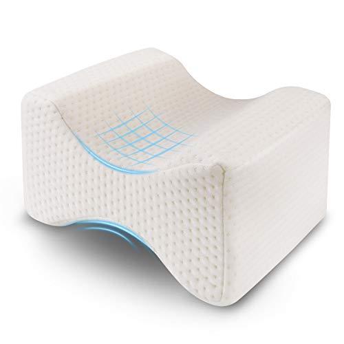 Ohiyoo Kniekissen, Orthopädisches Knie-Kissen für Hüfte, Memory Foam Kniekissen Schlafen sorgt für Druckentlastung von Hüft-, Rücken- und Knieschmerzen, Beinkissen für Seitenschläfer, Leg Pillow.