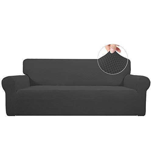 Easy-Going Stretch Sofa Slipcover 1-Piece Couch Sofa Cover Furniture Protector Soft with Elastic Bottom for Kids, Spandex Jacquard Fabric Small Checks(Sofa,Dark Gray)