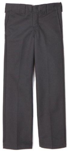 Dickies Big Boys' Slim Straight Pant, Charcoal Gray, 10