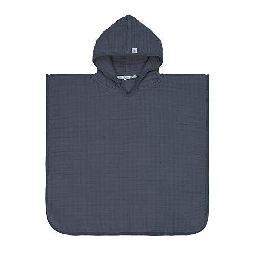 LÄSSIG 1312019401 - Toalla con capucha para bebé (muselina, poncho), color azul marino