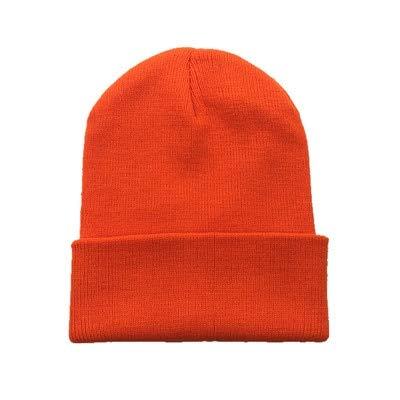 Sombreros de Invierno para Mujer nuevos Gorros de Punto sólido Lindo Sombrero niñas otoño Gorros Femeninos Gorros más cálidos Gorra Informal para Mujer-Orange