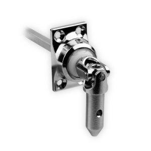 DIWARO.® | Rolladen Gelenklager G050, 45 Grad Umlenkung, Grundplatte 27 x 45 mm mit 4 Befestigungslöcher, Kurbelzapfen Anschluss 11,9 mm, Antrieb zum Rolladengetriebe 6 mm Vierkant.