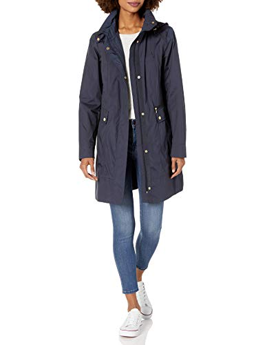 Cole Haan Women's Single Breasted Packable Rain Jacket with Removable Hood, Indigo, Large