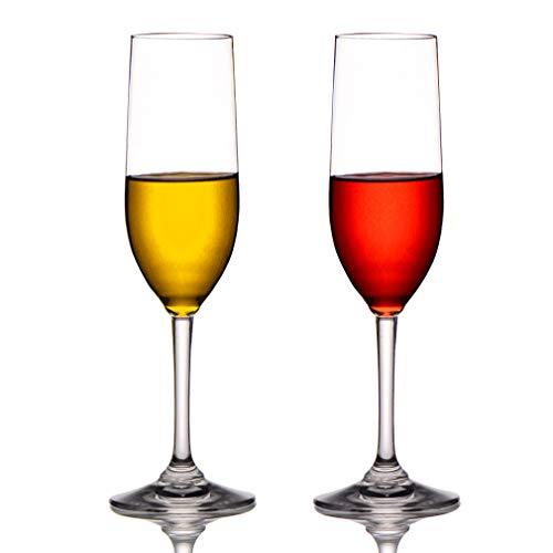 MICHLEY Tritan-Kunststoff Unzerbrechlich Champagner trinkglas, weinglaeser, gläser fur Camping Party, BPA-frei 170 ml Plastik Tasse 2 er Set