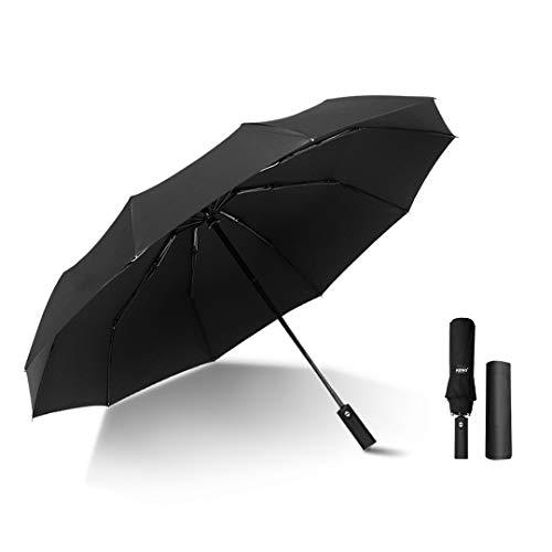 Kono Paraguas Plegable Automatico Paraguas de Viaje Resistentes al Viento para Hombres y Mujeres (Negro)