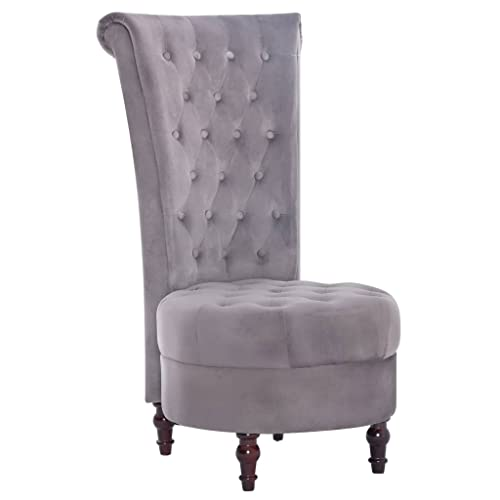 vidaXL Stuhl mit hoher Rückenlehne Sessel Relaxsessel Polstersessel Samtsessel Fernsehsessel Relaxstuhl Lehnstuhl Hochlehne Wohnzimmer Büro Grau Samt