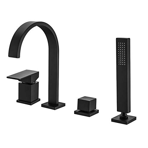 WATHELS Modern Waterfall Matte Black Bathtub Faucet Bathroom Roman Tub Filler with Handheld Shower