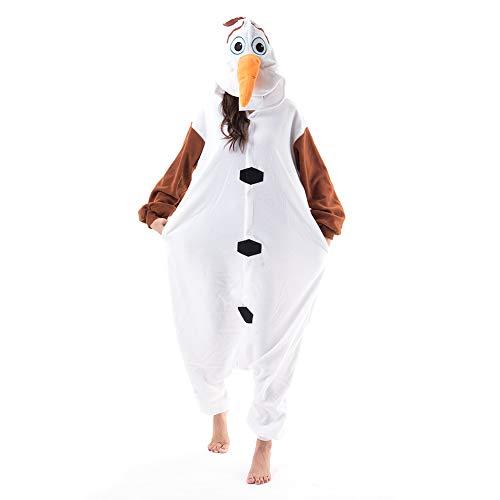 Beauty Shine Unisex Adult Animal Olaf Halloween Costume Plush Pajamas (XL, Olaf)