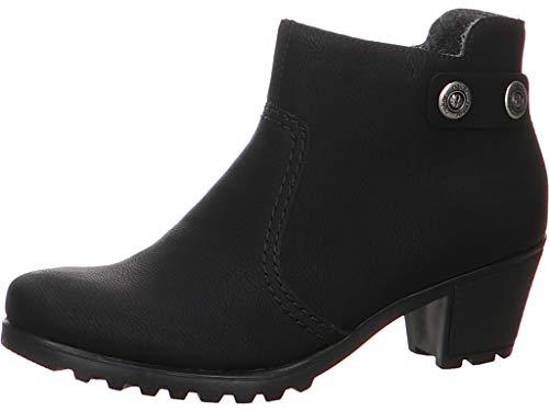 Rieker Damen Stiefeletten Y8062, Frauen Ankle Boots, Stiefel halbstiefel Bootie knöchelhoch reißverschluss Damen Frauen Lady,schwarz,37 EU / 4 UK
