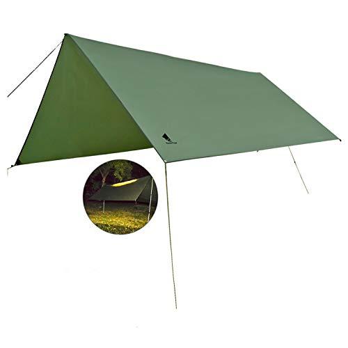 GEERTOP Hamac Tente de pluie avec éclairage LED de nuit léger, coupe-vent, imperméable, protection contre le soleil, bâche pour camping, randonnée, voyage