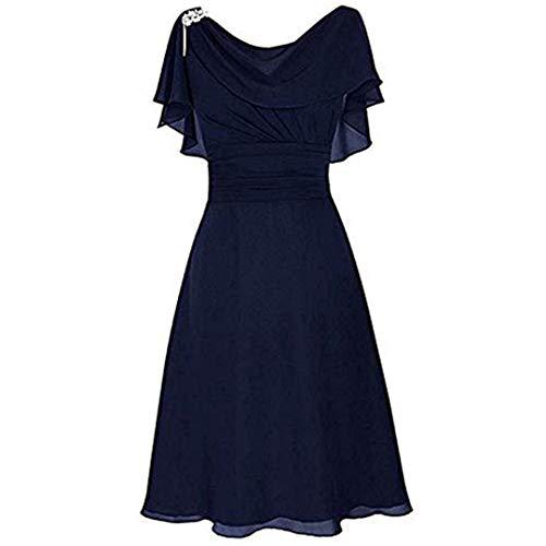 GOKOMO Damen sexy Wort Schulter Chiffon Kleider schwarz ärmellos Rock Damen lang mit Schlitz Brautkleid Kleid(Dunkelblau,Medium)