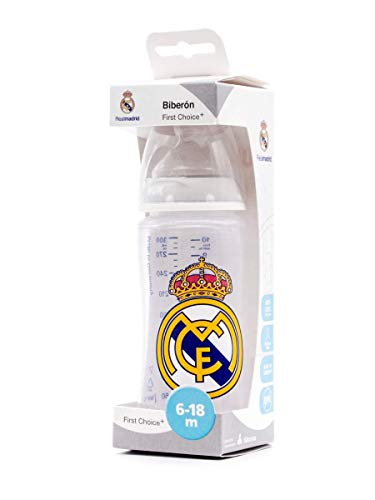 NUK First Choice + Biberón del Real Madrid de Silicona. Biberón Anticólicos. Producto Oficial. Color Blanco. (300 ml)