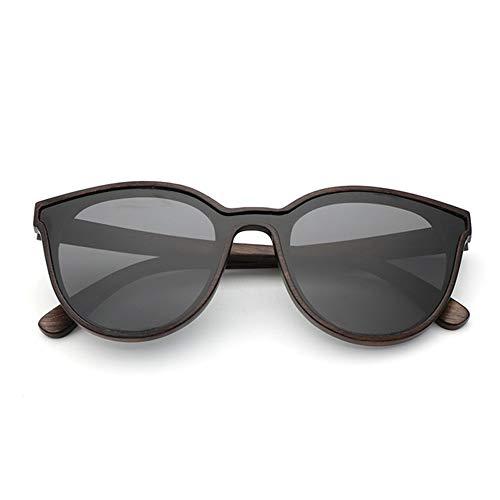 GDYX Gafas de sol Nuevas gafas de sol de madera maciza para hombres y mujeres Gafas de sol redondas de bambú, lentes de cebra retro con montura de madera y lentes polarizadas sin estuche lente negra 2