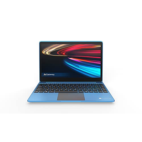 "Gateway 14.1"" Ultra Slim Notebook, FHD, Intel Celeron, Dual Core, 4GB/64GB, Tuned by THX Audio, Mini HDMI, Cortana, 1MP Webcam, Windows 10 S, Microsoft 365 Personal 1-Year Included, Blue"