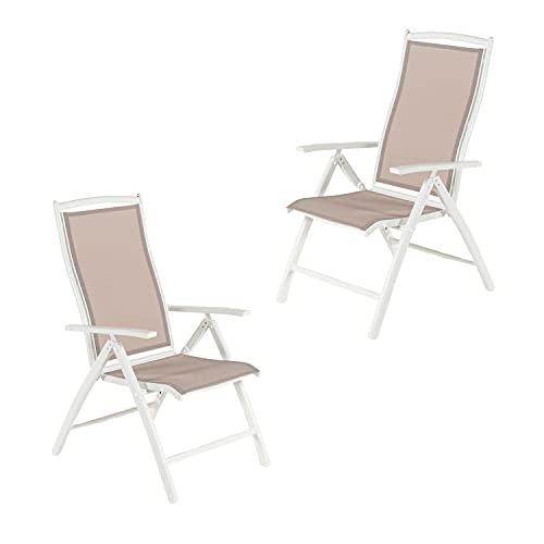 Pack 2 sillones para jardín de Aluminio Blanco y textilene taupé Jaspeado, Reclinable, Tamaño: 61x73x110 cm, Detalles en teka en Brazos y Respaldo