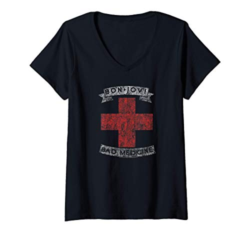 Ladies Bon Jovi Bad Medicine V-Neck T-Shirt