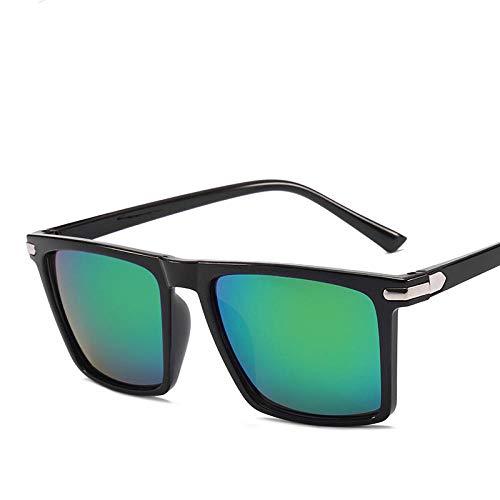 Long Fu Square Sonnenbrille für Herren, Shopping Vintage Driving Street Beat UV400 Sonnenbrille für Strand Fahren, BlackGreen