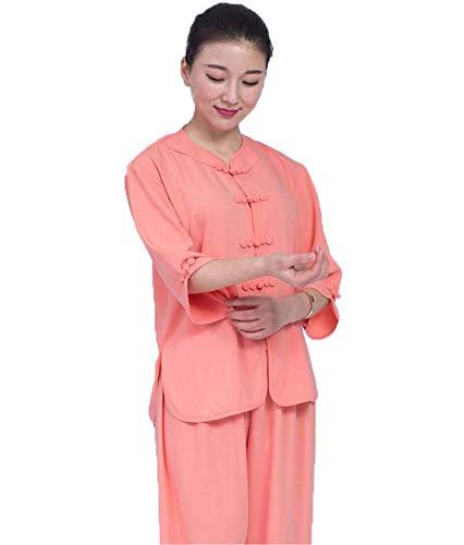 AZWE Taiji Kleidung Leinen Weibliche Baumwolle und Leinen Stickerei Männlichen Chinesischen Stil Langärmeligen Frühling und Sommer Kurzärmeligen Taijiquan Praxis Martial Arts Performance Kleidung,Ora